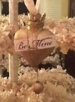 """Valentine Heart Shaped Gold Ornament """"Be Mine"""" - Free Shipping"""