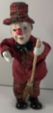 "Vintage Porcelain Wind up - Musical Moving 11"" Clown Doll, Holding Broom"