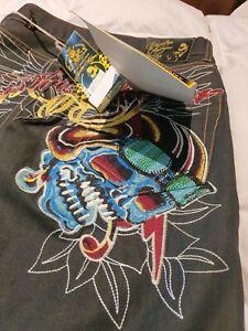 Men Ed hardy jeans SIZE 32 Christian Audigier Rhinestone BNWT Rare