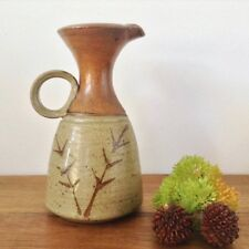 Brown Pottery Jug Tenmoku Glaze with Reed Grass Detail Incised Lozenge Mark