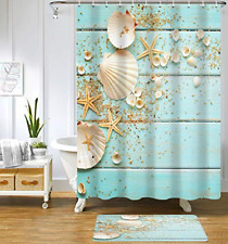 Uphome Beach Shower Curtain Aqua Seashell and Starfish Coastal Shower Curtain
