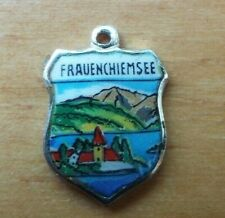 Enamel Shield Charm Ehj Vintage Frauenchiemsee.Germany 800 Silver