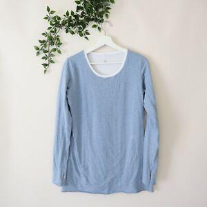 Lululemon Women's Long Sleeve Reversible Athletic Long Top Blue & White Size 8
