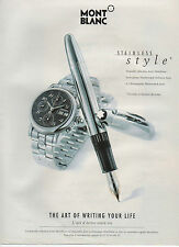 Publicité Advertising 1990  ///  montre stylo  MONT BLANC  stainless style