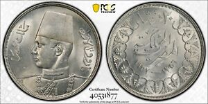 EGYPT , 20 PIASTRES KING FAROUK 1937 - PCGS MS 63 , RAREM