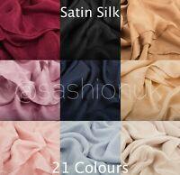 Satin Silk Hijab Scarf Elegant Plain Maxi High Quality Shawl Wrap Cape Sarong