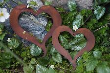 Edelrost Set Herzen offen Garten Fensterdeko Metall Herz Terrasse Deko Geschenk