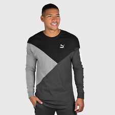 PUMA Long Sleeve T Shirt Men's Black Gray Cut Line Tee Shirt Size S