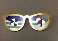 14K Yellow Gold Inlaid Multi Gemstone Sunglasses Pin Brooch!