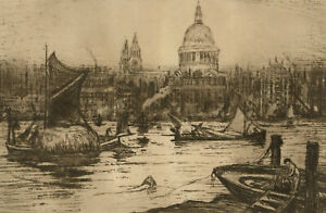 Maria Hampshire Eaton (c.1860-1940) - Signed Etching, View of St Pauls, London