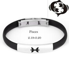 12 Constellation Stainless Steel Silicone Bracelets for Men Women Bangle