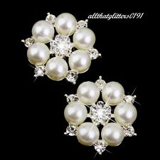 Small Faux Pearl & Crystal  Brooch / Scarf Pin On A Silver Plated Frame.