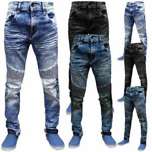 Mens Ripped Biker Jeans Super Stretch Distressed Acid Wash Denim Pants Trousers