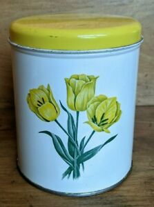 Vintage Decoware Small Metal Kitchen Canister White w/ Yellow Tulips