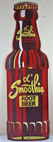 OL SMOOTHIE ROOT BEER GLASS SODA BOTTLE SHAPED HEAVY DUTY METAL ADVERTISING SIGN