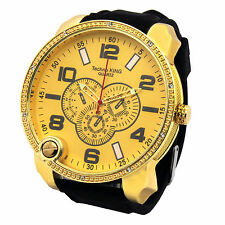 Gold Case Bk Band Iced Out Oversized Hip Hop Fashion Silicone Quartz Wrist Watch