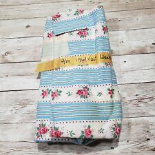 "Vintage Cotton Fabric Blue Stripe Pink Floral Flower 1.33yd X 36"""