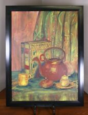 A Still Life Colorful Tea Antique Book Curtain Frame Mod Vtg Oil Board Painting