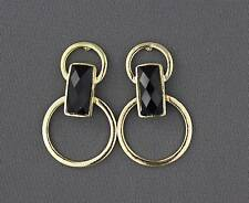 Gold tone BLACK faceted post stud dangle hoops earrings door knocker Big hoop
