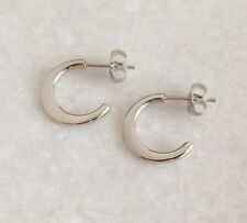 316L Surgical Stainless Steel Flat Half Hoop Stud Earrings 15mm