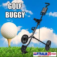 2 Wheel Golf Pull Trolley Bag Stand Cart Compact Folding Golf New AU Stock  B