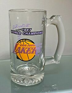 Los Angeles LA Lakers 1987 World Champions NBA Glass Magic Johnson Kareem Jabbar