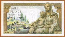 France, 1000 francs, 1945, P-102, WWII UNC