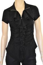KHOBEN SZ 8 WOMENS Black Ruffle Frill 2-Way Zip Front Cap Sleeve Stretch Top