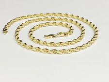 "18KT Solid Yellow Gold Diamond Cut Rope Chain Necklace 16"" 5 mm 29 grms (KDC035)"