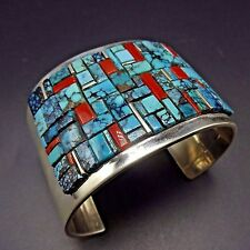 Huge Wide NAVAJO Sterling Silver CORAL & TURQUOISE Channel Inlay Cuff BRACELET