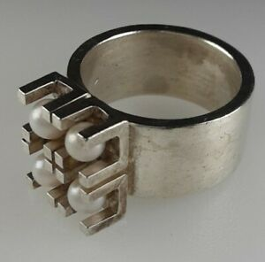 Designer Perlen Ring 925 Sterling Silber Modernist Vintage