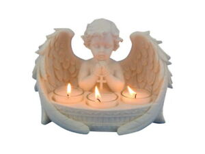 New Praying Cherub w Tealight Holder Garden Outdoor Statue Ornament Decor 21 cm