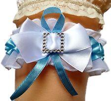 Braut-Strumpfband weiß blau mit großer Schleife Strasssteine aus Satin Hochzeit