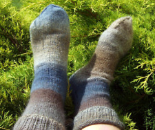 Mens Womens Wool Hiking Socks Blue Grey Beige Brown Hand Knitted Size 8/9 41/43