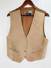 Mona Moda Western Leather Vest Size Medium Tan Snap Front Rode Cowboy Cowgirl