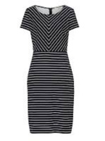 Betty Barclay Striped Navy White Dress Women Ladies Short Sleeves Size 16 *REF61