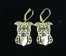 American Staffordshire Bull Terrier Dog Earrings-Fashion Jewellery Gold Plated