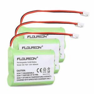 Floureon 3Pack Motorola SD-7501 Battery 3.6V 900mAh Ni-MH Fruit Green