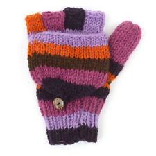 Fair Trade fingerless / mitten flap Gloves Purple stripe warm winter Wool hunter