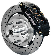 "WILWOOD DISC BRAKE KIT,FRONT,70-78 GM,12"" DRILLED ROTORS,6 PISTON BLACK CALIPERS"