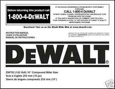 "Dewalt 10"" Miter Saw Instruction Manual Model #DW703(1)"