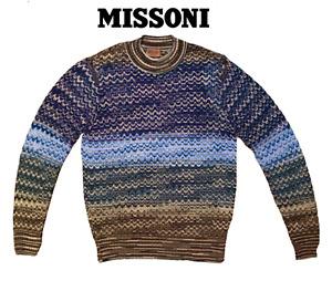 Missoni Men's Wave ZigZag Pattern Wool Mohair Sweater