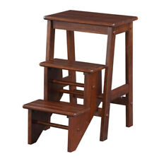 Benzara 3 Step Wooden Frame Stool With Safety Latch Brown
