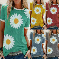 Womens Summer Daisy Print Basic T-Shirt Tops Ladies Short Sleeve Blouse Shirt UK