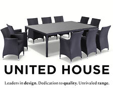 Outdoor Wicker 10 seater Glass Dining Table and Chairs Chair Furniture Setting