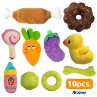 10 Puppy Chew Toys  - Plush Squeaky Dog Toys - Puppy Teething Toys - Rubber Bone