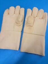 """Fiberglass Blend Wool High Heat Resistance Work Gloves 14"""" 800 Degrees F Welding"""