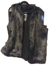 FUAX FUR GILLET BLACK LARGE NEW