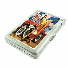 Texas Pin Up Girls D1 Cigarette Case with Built in Lighter Metal Wallet