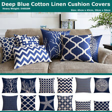 Deep Blue Sea Geometric Cotton Linen Cushion Cover Home Decor Throw Pillow Case